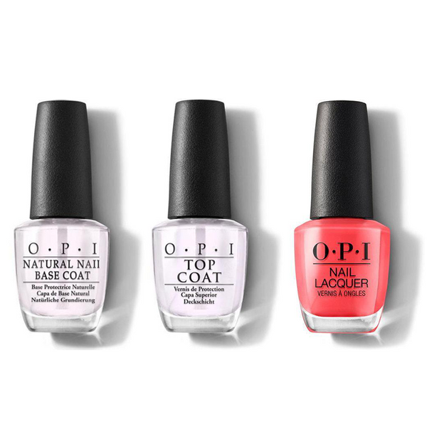 OPI - Nail Lacquer Combo - Base, Top & I Eat Mainely Lobster 0.5 oz - #NLT30