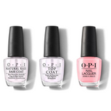OPI - Nail Lacquer Combo - Base, Top & I Think In Pink 0.5 oz - #NLH38