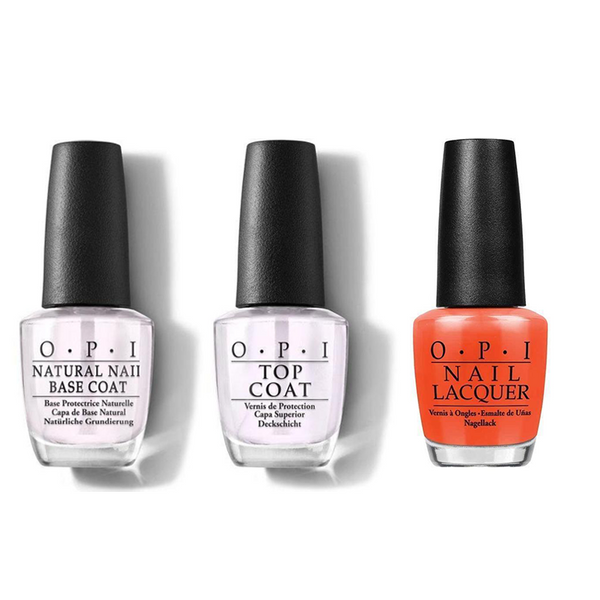 OPI - Nail Lacquer Combo - Base, Top & Juice Bar Hopping 0.5 oz - #NLN35