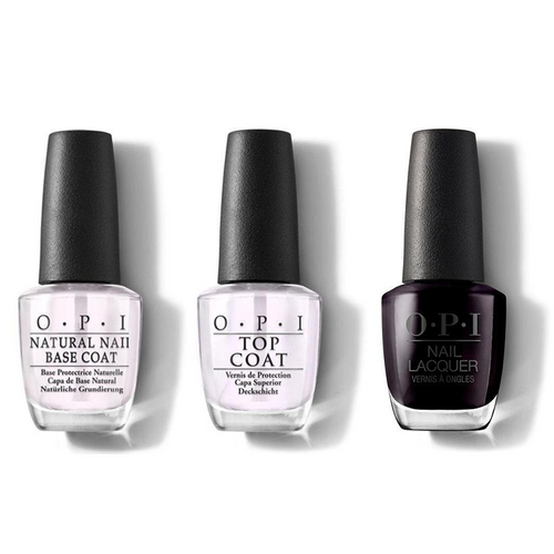 OPI - Nail Lacquer Combo - Base, Top & Lincoln Park After Dark 0.5 oz - #NLW42