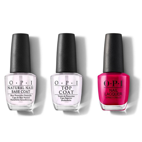 OPI - Nail Lacquer Combo - Base, Top & Madam President 0.5 oz - #NLW62
