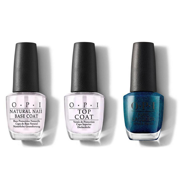 OPI - Nail Lacquer Combo - Base, Top & Nessie Plays Hide & Sea-k 0.5 oz - #NLU19