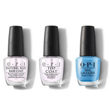 OPI - Nail Lacquer Combo - Base, Top & No Room for the Blues 0.5 oz - #NLB83