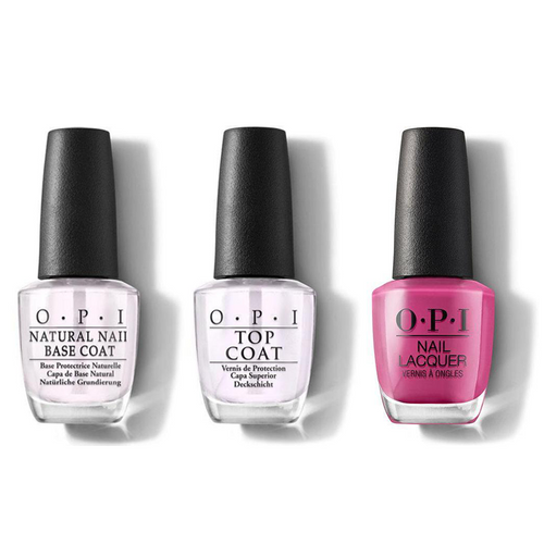 OPI - Nail Lacquer Combo - Base, Top & No Turning Back From Pink Street 0.5 oz - #NLL19