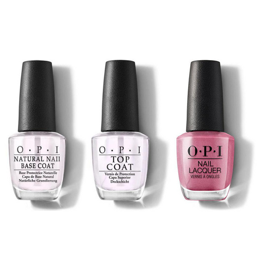 OPI - Nail Lacquer Combo - Base, Top & Not So Bora-Bora-ing Pink 0.5 oz - #NLS45