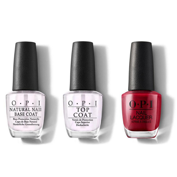 OPI - Nail Lacquer Combo - Base, Top & OPI Red 0.5 oz - #NLL72