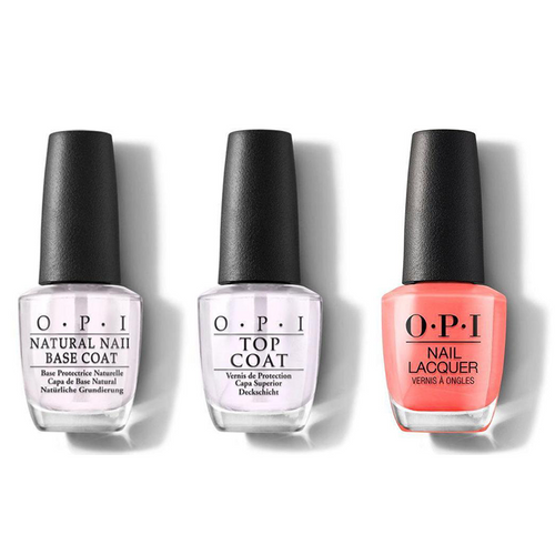 OPI - Nail Lacquer Combo - Base, Top & Orange You a Rock Star? 0.5 oz - #NLN71