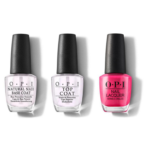 OPI - Nail Lacquer Combo - Base, Top & Pink Flamenco 0.5 oz - #NLE44