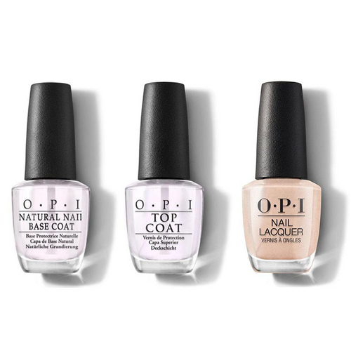 OPI - Nail Lacquer Combo - Base, Top & Pretty in Pearl 0.5 oz - #NLE95