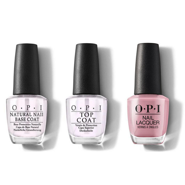 OPI - Nail Lacquer Combo - Base, Top & Rice Rice Baby 0.5 oz - #NLT80