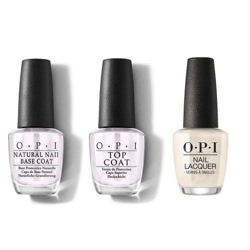 OPI - Nail Lacquer Combo - Base, Top & Snow Glad I Met You 0.5 oz - #NLHRJ01