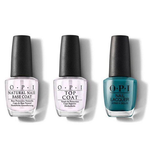 OPI - Nail Lacquer Combo - Base, Top & Teal Me More, Teal Me More 0.5 oz - #NLG45