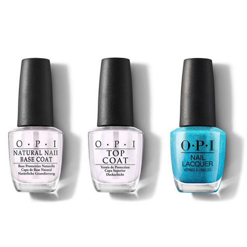 OPI - Nail Lacquer Combo - Base, Top & Teal the Cows Come Home 0.5 oz - #NLB54
