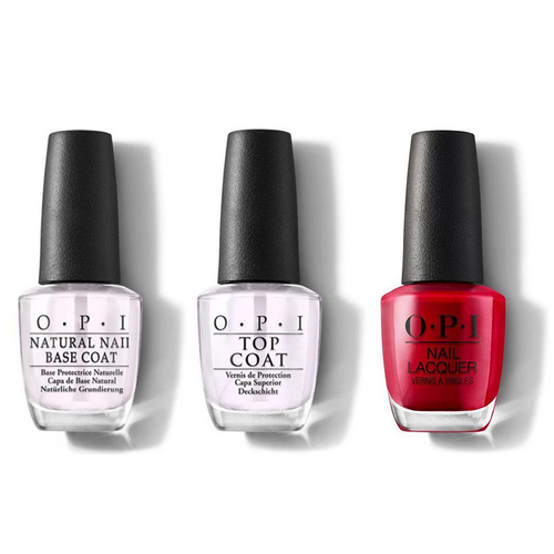 OPI - Nail Lacquer Combo - Base, Top & The Thrill of Brazil 0.5 oz - #NLA16