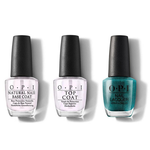 OPI - Nail Lacquer Combo - Base, Top & This Color's Making Waves 0.5 oz - #NLH74