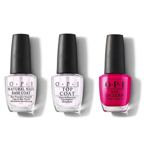 OPI - Nail Lacquer Combo - Base, Top & Toying With Trouble 0.5 oz - #NLHRK09