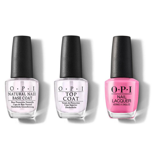 OPI - Nail Lacquer Combo - Base, Top & Two-Timing the Zones 0.5 oz - #NLF80