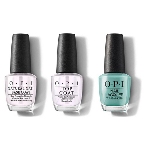 OPI - Nail Lacquer Combo - Base, Top & Verde Nice To Meet You 0.5 oz - #NLM84