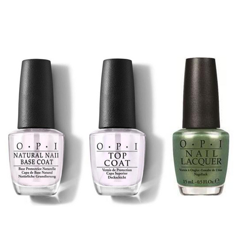 OPI - Nail Lacquer Combo - Base, Top & Visions of Georgia Green 0.5 oz - #NLC93