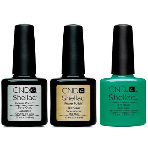 CND - Shellac Combo - Base, Top & Art Basil