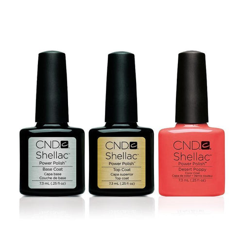 CND - Shellac Combo - Base, Top & Desert Poppy