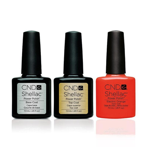 CND - Shellac Combo - Base, Top & Electric Orange