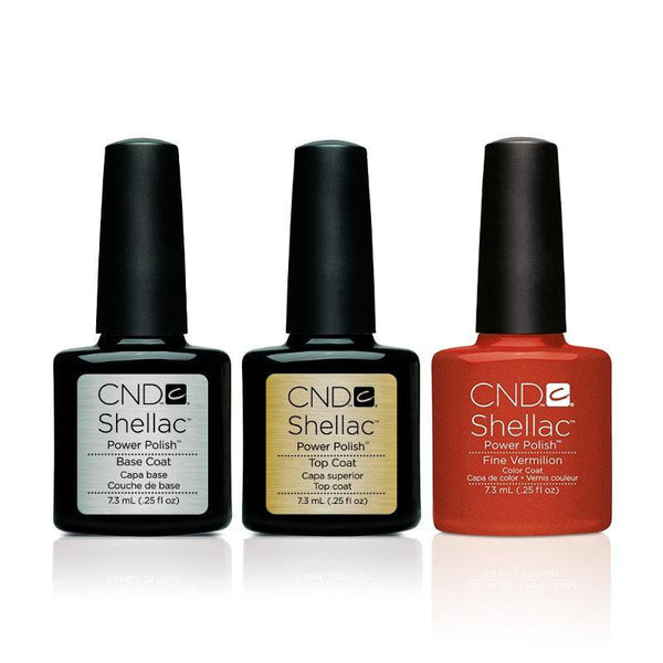 CND - Shellac Combo - Base, Top & Fine Vermilion
