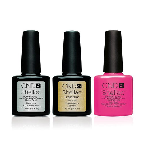 CND - Shellac Combo - Base, Top & Hot Pop Pink