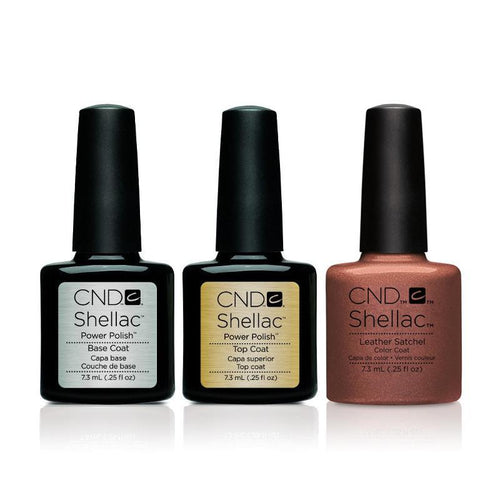 CND - Shellac Combo - Base, Top & Leather Satchel
