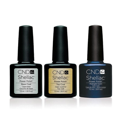 CND - Shellac Combo - Base, Top & Midnight Swim