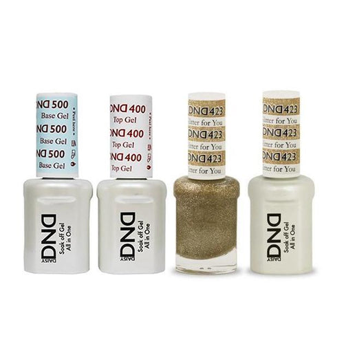 DND - Base, Top, Gel & Lacquer Combo - Glitter for You - #423