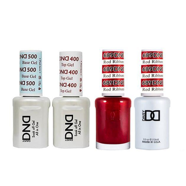 DND - Base, Top, Gel & Lacquer Combo - Red Ribbons - #689
