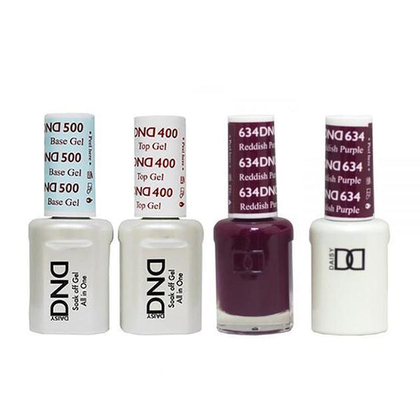 DND - Base, Top, Gel & Lacquer Combo - Reddish Purple - #634