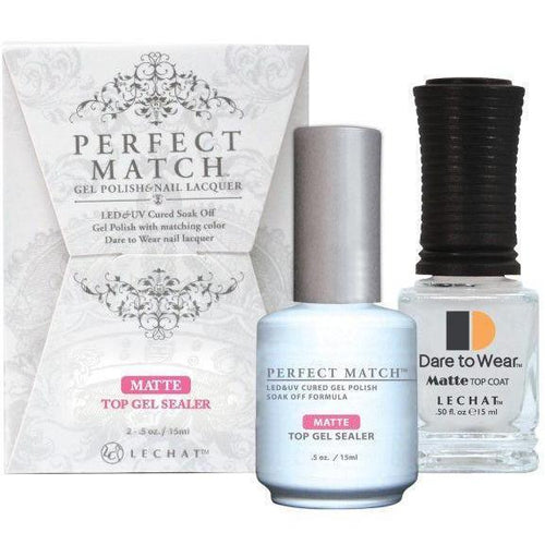 LeChat Perfect Match Gel / Lacquer Combo - Matte Top Gel Sealer 0.5 oz - #PMTM01