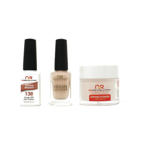 NuRevolution - Gel, Lacquer & Dip Combo - Almond Blossom - #138