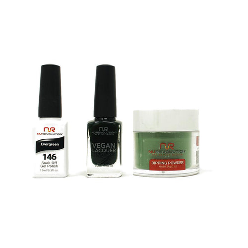 NuRevolution - Gel, Lacquer & Dip Combo - Evergreen - #146