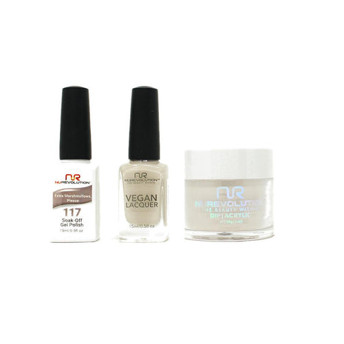 NuRevolution - Gel, Lacquer & Dip Combo - Extra Marshmallow Please - #117