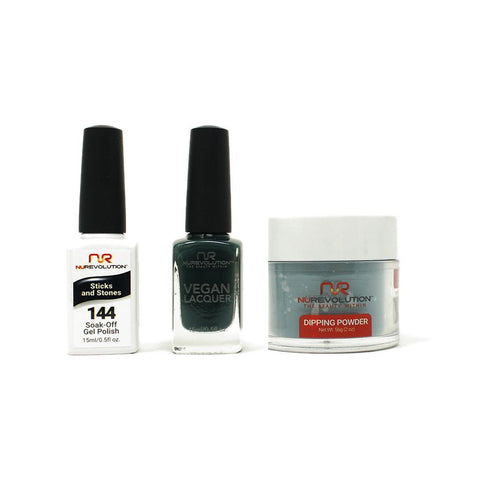 NuRevolution - Gel, Lacquer & Dip Combo - Stick and Stones - #144