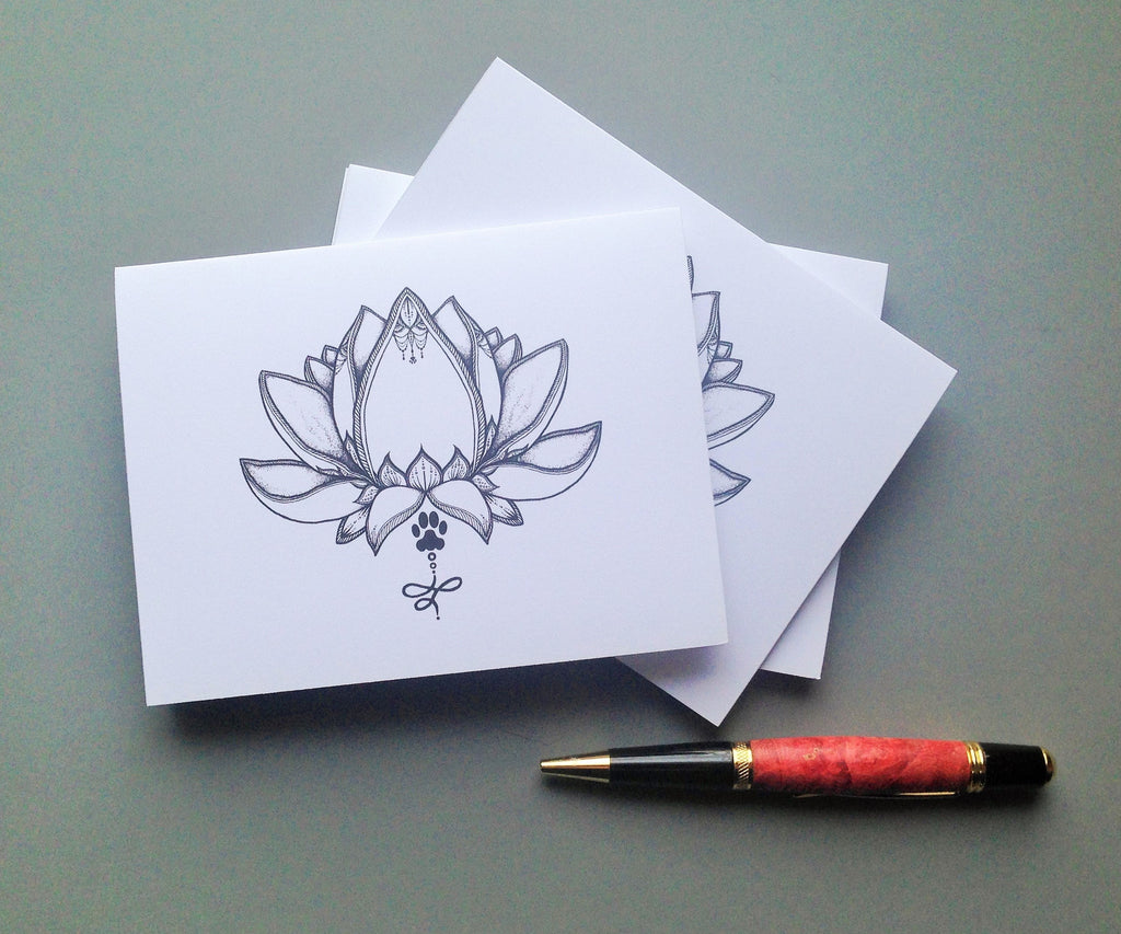 Paw Lotus 2016 Blank Note Cards