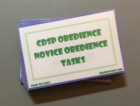 CDSP Novice Obedience Task Card Pack