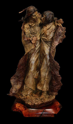 "Western Bronze Sculpture, ""The Edge of Winter"" by Jeff Wolf, Limited Edition of 20, #1036"