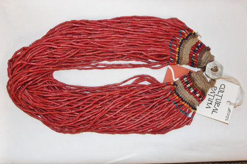 Glass Bead Necklace : Authentic Naga Heavy Red Multi-strand Glass Bead Necklace, with Macrame Closure #1056