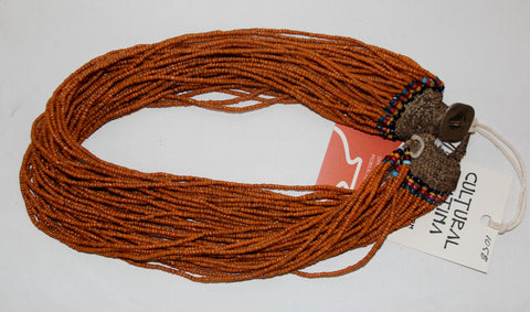Glass Bead Necklace : Naga Small Orange Multi-strand Glass Bead Necklace, with Macrame Closure #1058