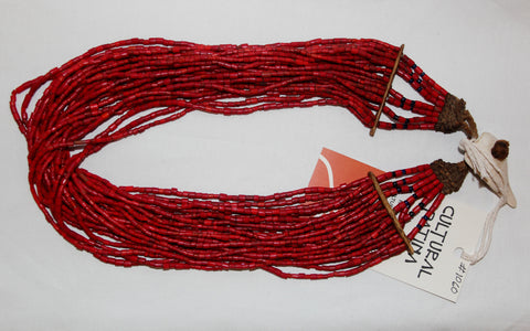 Glass Bead Necklace : Naga Small Red Multi-strand Glass Bead Necklace, with Macrame and Shell Closure #1060