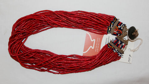 Glass Bead Necklace : Naga Small Red Multi-strand Glass Bead Necklace, with Macrame  Closure #1061