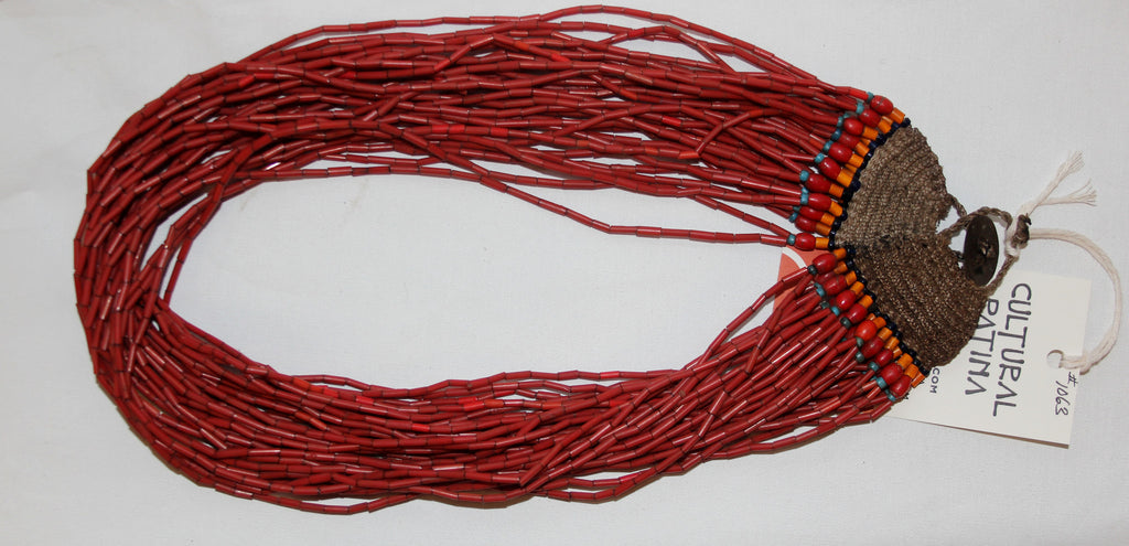Glass Bead Necklace : Naga Small Red Multi-strand Glass Bead Necklace, with Macrame  Closure #1062