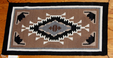 Native American, Navajo Extremely Fine, Tapestry Grade, Hand Woven Two Gray Hills Textile, ca 1070's #1049