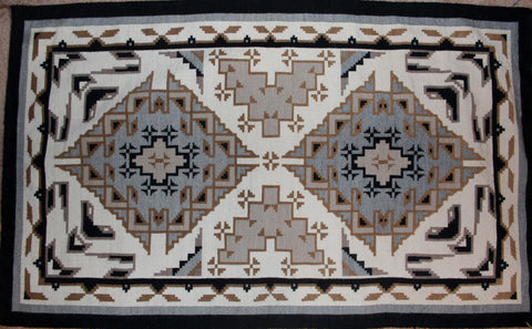 Native American, Navajo Vintage Hand Woven Large Extremely Fine Two Gray Hills Textile, by Clara Sherman, 1970's-1980's #1047
