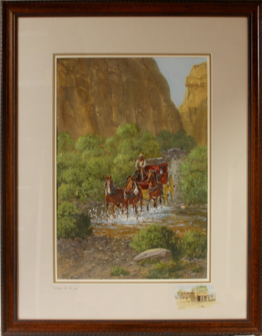 "Western Water Color Painting, ""Stage to Tucscn"" by Ron Stewart, Ca 1970's, #1104"