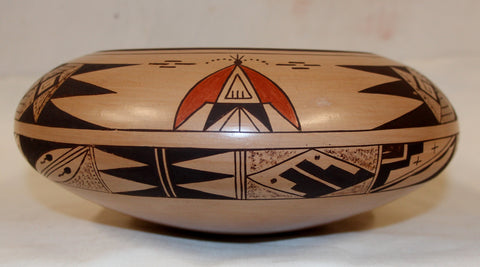 Native American, Hopi Poly Chrome Pottery Bowl, ca 1970's, #1023 Sold